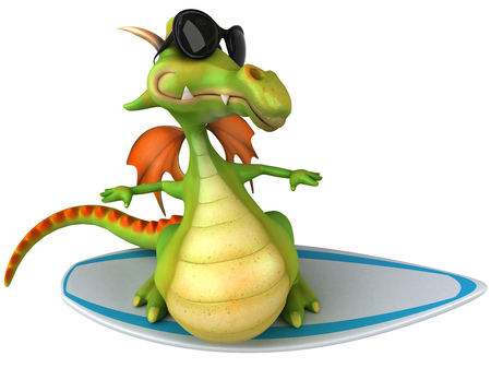Cartoon dragon with sunglasses surfing Stock Photo