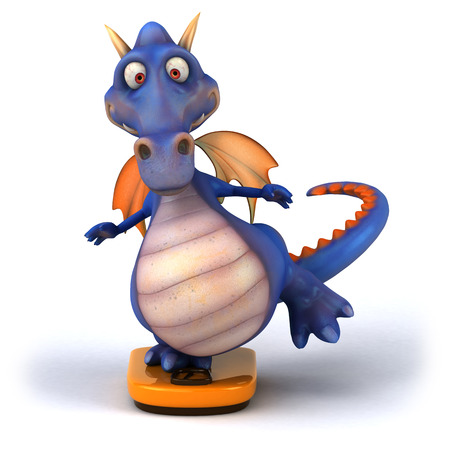 Cartoon dragon standing on weighing scale