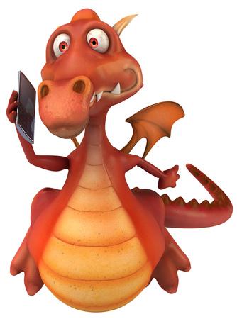 Cartoon dragon with a smartphone