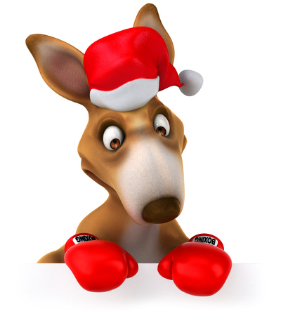 Cartoon kangaroo with santa and boxing gloves looking downward Stock Photo