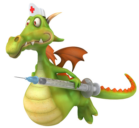 Cartoon dragon with nurse cap and syringe flying