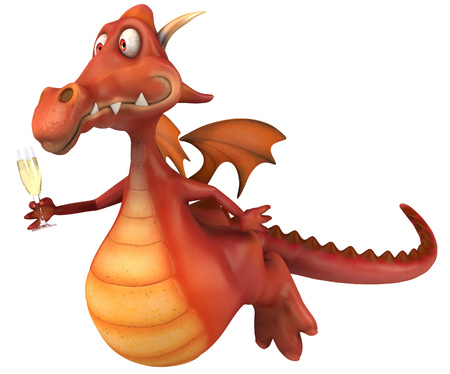 event party: Cartoon dragon with a glass of champagne flying Stock Photo