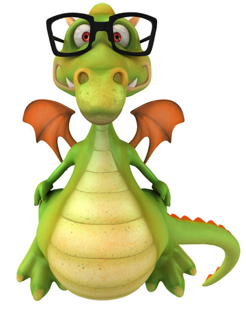 Cartoon dragon with glasses standing
