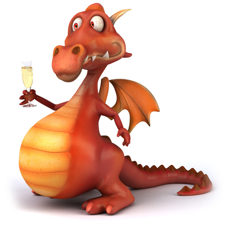 Cartoon dragon with a glass of champagne