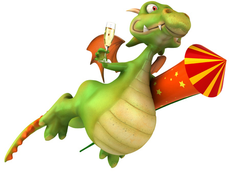 Cartoon dragon with firecracker and a glass of champagne flying