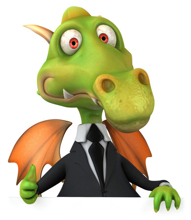 Cartoon dragon in suit showing thumbs up gesture Stock Photo
