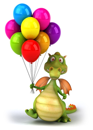 floating: Cartoon dragon holding a bunch of balloons Stock Photo