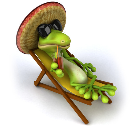 Cartoon lizard with sunglasses and sombrero hat drinking juice on deckchair