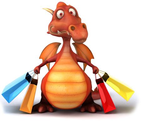 Cartoon dragon with shopping bags Stock Photo