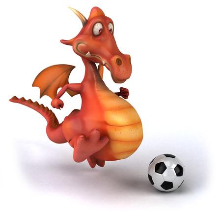 Cartoon dragon playing soccer ball Stock Photo