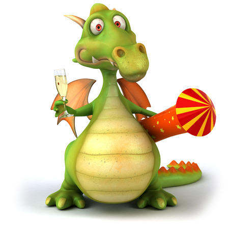Cartoon dragon with firecracker and a glass of champagne