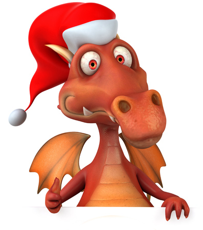 Cartoon dragon with santa hat showing thumbs up gesture