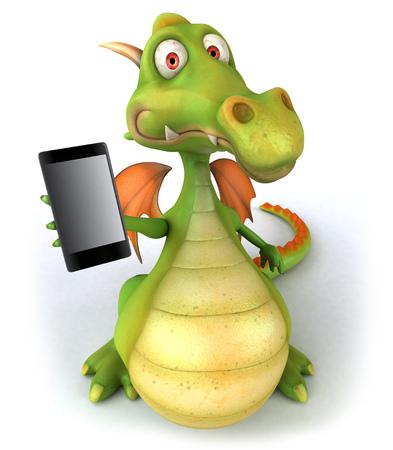 Cartoon dragon showing a smartphone