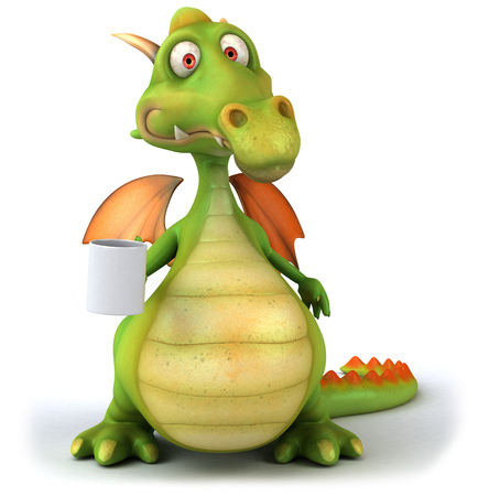 Cartoon dragon with a mug