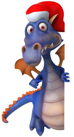 Cartoon dragon with santa hat pointing