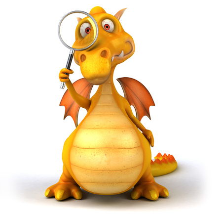 Dragon looking through a magnifying glass