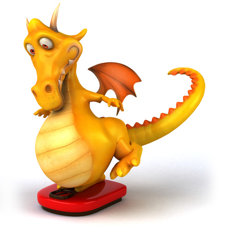 Dragon on weight scale Stock Photo