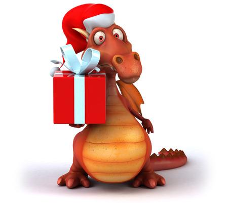 Dragon wearing a santa hat holding a present