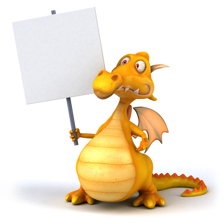 Dragon holding up a signboard Stock Photo