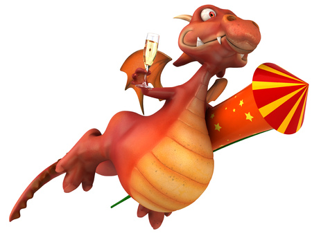Dragon holding a rocket and champagne glass Stock Photo