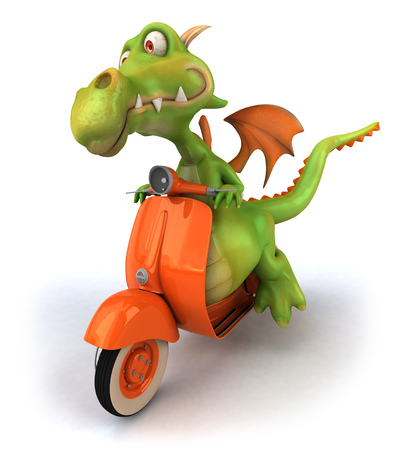 Dragon riding a scooter