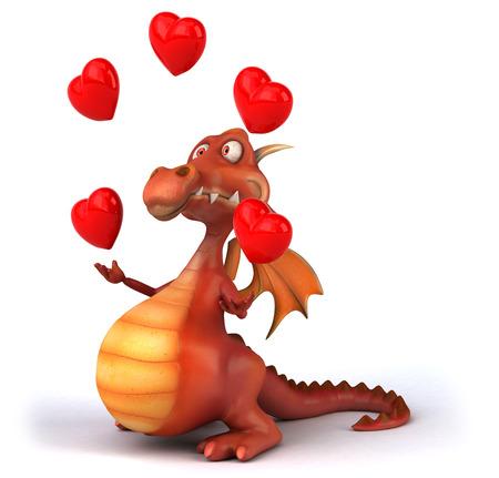 Dragon juggling hearts Stock Photo