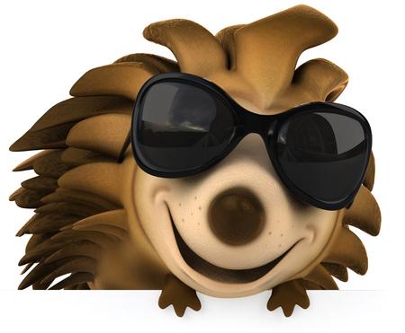 Hedgehog wearing glasses