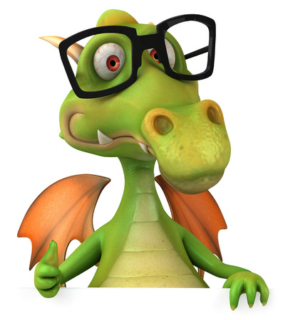 Dragon wearing glasses Stock Photo