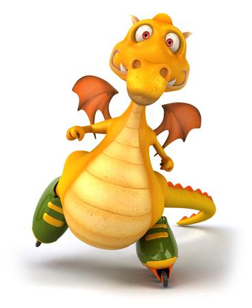 Dragon roller skating Stock Photo