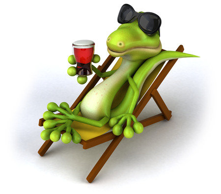 Lizard wearing sunglasses laying down on deck chair and having a drink Stock fotó
