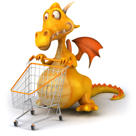 Dragon with shopping cart