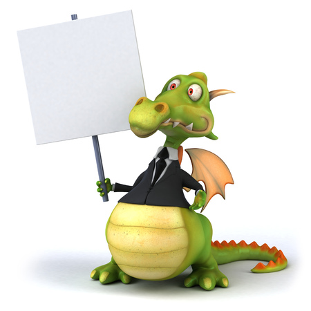 Dragon in a business suit holding up a signboard Stock Photo