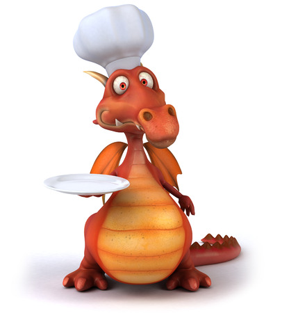 Dragon in chefs hat and holding a plate Stock Photo