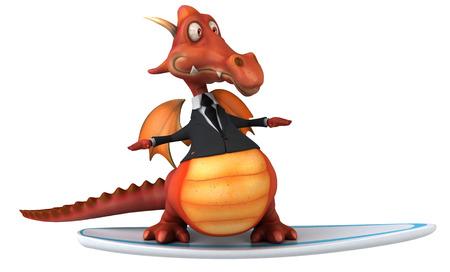 Dragon riding surfboard