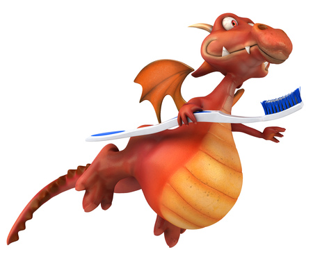 mythological character: Dragon holding a toothbrush