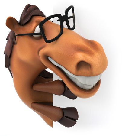 spectacle frame: Horse wearing glasses