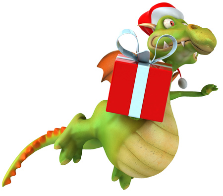 festivity: Dragon wearing a santa hat holding a present