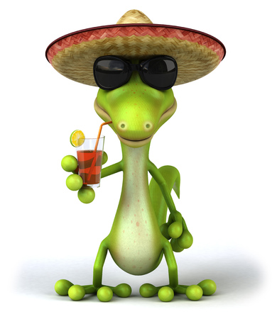 Lizard wearing sombrero and sunglasses holding a drink