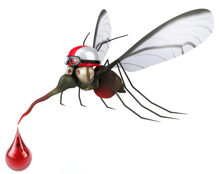 Mosquito wearing racing helmet with a droplet of blood