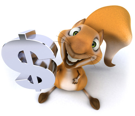 us currency: Squirrel holding up the dollar symbol Stock Photo