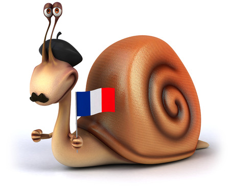 Snail with a moustache wearing beret and holding a french flag Stock Photo