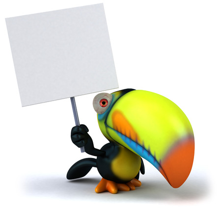 Toucan holding up a signboard Stock Photo