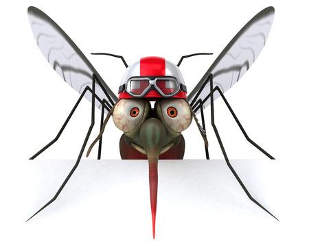 Mosquito wearing racing helmet Stock Photo