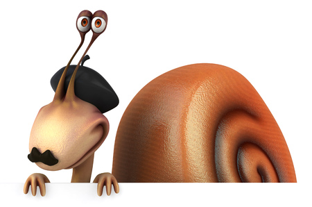 retractable: Snail with a moustache wearing beret