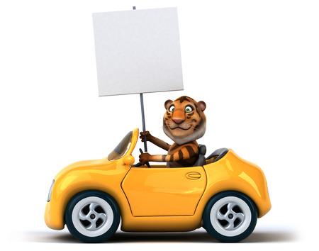 windscreen: Fun tiger Stock Photo