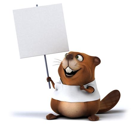 beavers: Beaver with a white tshirt