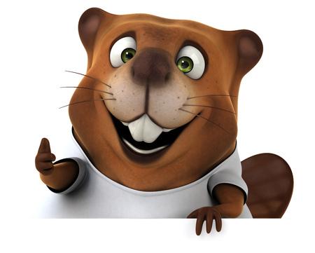 castor: Beaver con una camiseta blanca