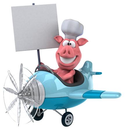 aerial animal: Fun pig Stock Photo