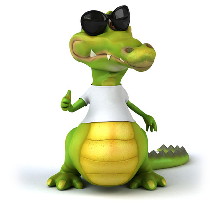 alligator isolated: Crocodile with a white tshirt