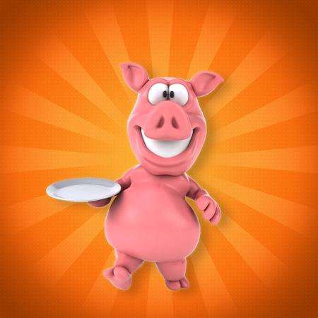 pig tails: Fun pig Stock Photo